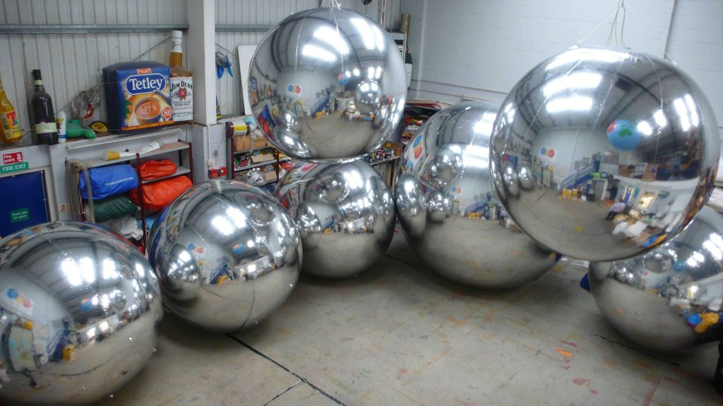 silver inflatable spheres