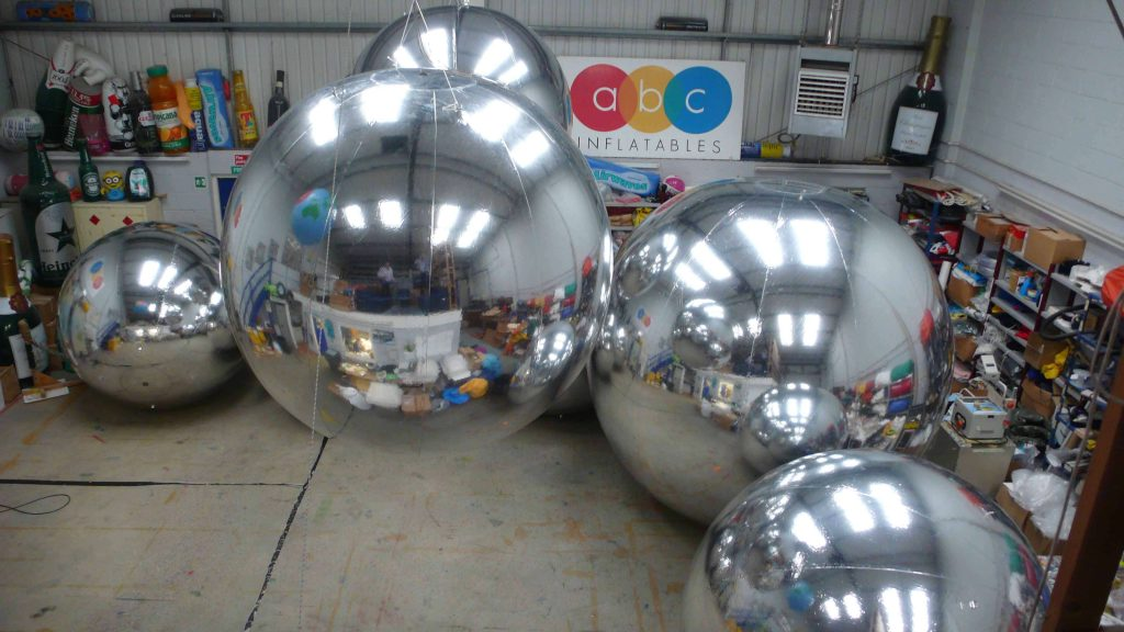 inflated giant silver chrome balls