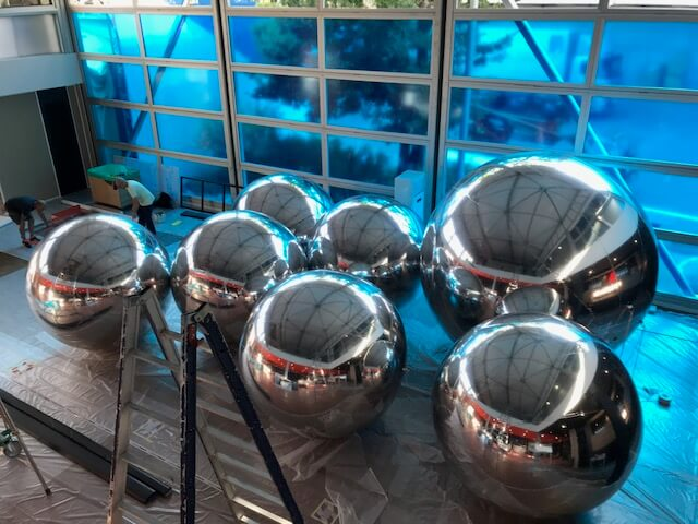 mirror chrome balls - inflated ready for exhibition stand