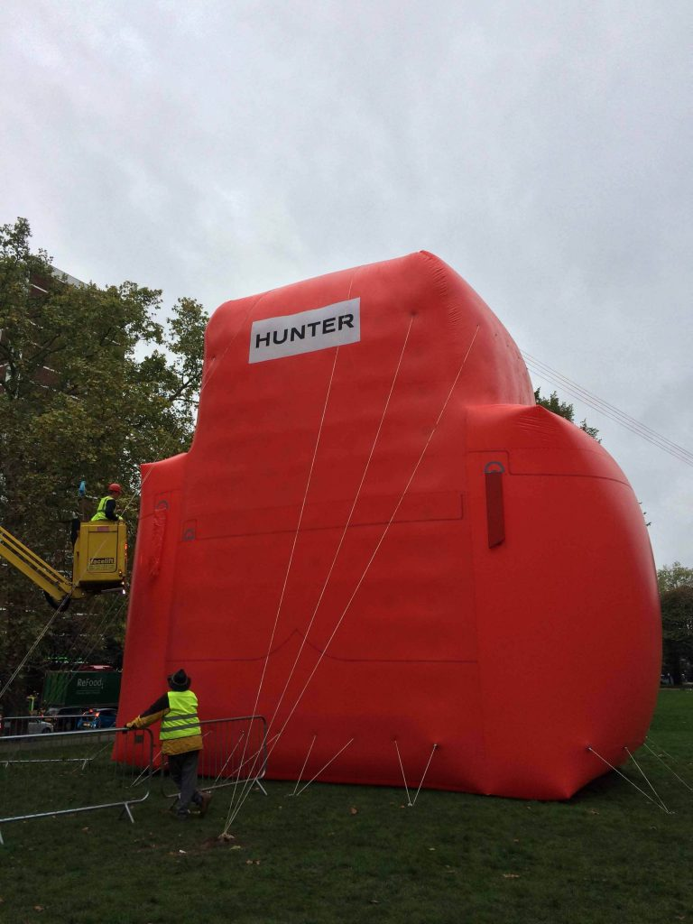 Installing red Hunter backpack inflatable