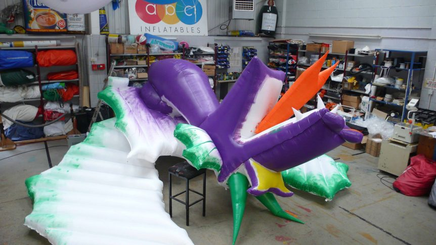hand artwork on an inflatable panto dragon