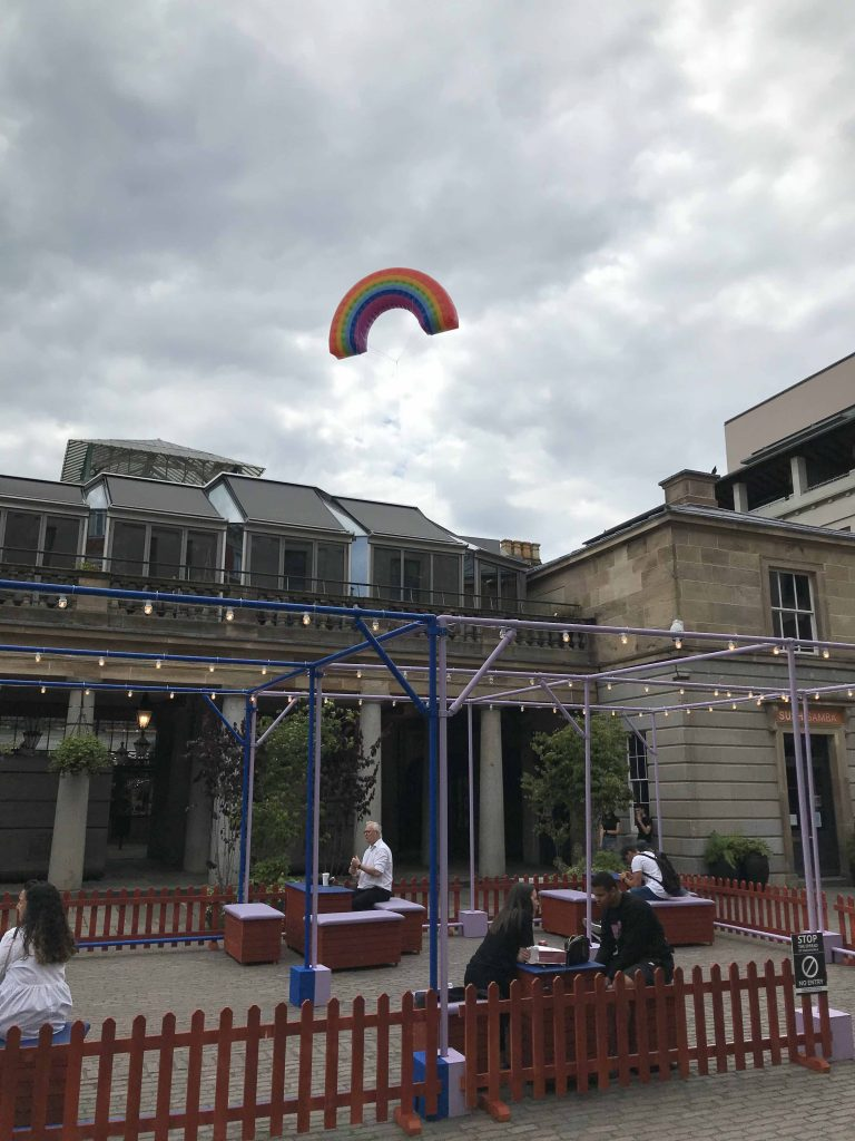 inflatable flying over Covent Garden for reopening